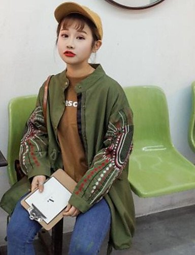 zhENfu Donna informale/giorno di primavera semplice giacca caduta,stampa piena girocollo manica lunga cotone lungo Green