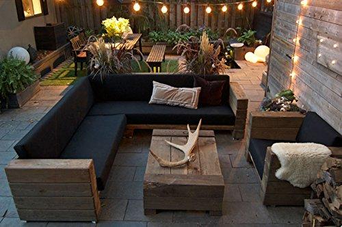 Luxus Garten Möbel Set Eiche Massiv mit Polsterung - Eckcouch + Sessel + Tisch - Lounge Set