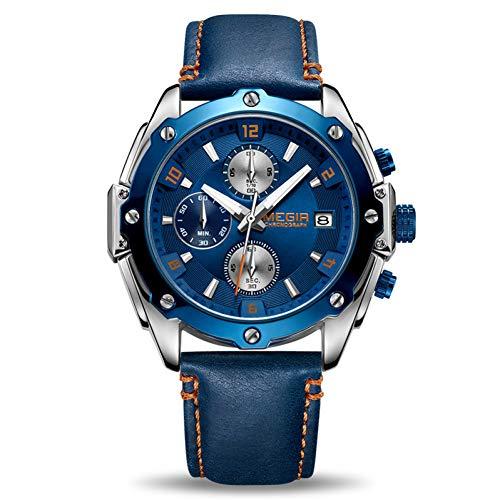 SBDONGJX Chronographe Hommes Montre Relogio Masculino Bleu en Cuir Affaires Montre À Quartz Horloge Hommes Créative Armée Militaire Montre-Bracelet