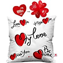 Indibni Valentine Day Gift Love me Kiss me Quote Hand Drawn Hearts White Cushion Cover 16x16 inch - Gift for Boyfriend, Girlfriend, Birthday, Wife, Husband, Anniversary