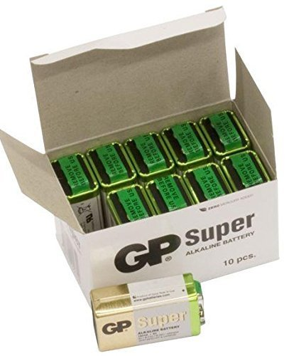 GP 9V-PP3 Batterie Super Alcalinericaricabili, Color Oro/Verde/Bianco [confezione da 10]