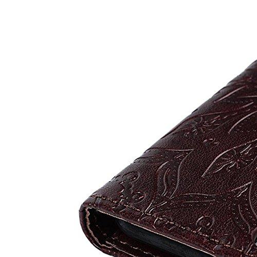 PU Coque pour iPhone 6 Plus Cuir Case 3D Perle Diamant Strass Paillettes Couverture PU Leather Wallet Luxe Brillant Glitter Shining Bling Bling Étui Flip Cover Bookstyle Case avec Support et Cartes Sl Mandala-Marron Foncé