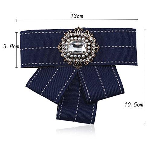 Jelinda Schleife brosche Damen Schleifenbrosche Legierung Garn Kragen Böhmen Bowtie Frauen Mode Kragen (blue)