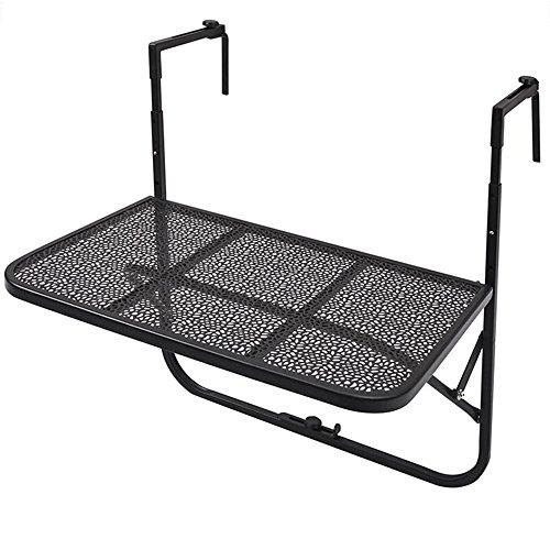 Computertische FEI Im Freien faltende Plattform-Tabellen-Patio-Garten-justierbare Balkon-hängende Geländer-Tabelle 5 Farben (Farbe : Schwarz) (Patio-tabelle Metall)