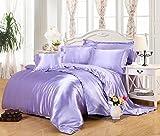 Pure Color Generic Satin Luxus Seide Bettdecke Bettbezug Set Bettwäsche Sets enthalten 1 Bettbezug 1 Bettlaken 1 Kopfkissenbezüge, hellviolett, Single: 150x200CM