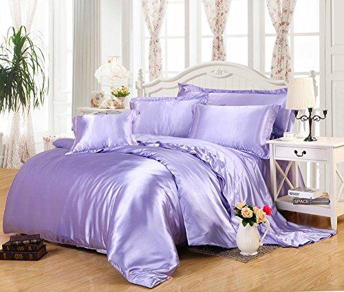 Pure Color Generic Satin Luxus Seide Bettdecke Bettbezug Set Bettwäsche Sets enthalten 1Bettbezug 1Bettlaken 2Kopfkissenbezüge, hellviolett, Single: 150x200CM
