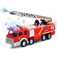 FUNTOK Fire Engine, Fire Truck Toy, Battery Operated Electric Car Rescue Vehicle With Manual Water Pump Extending Ladder Flashing Lights Bump and Go Action Car toy For Kids