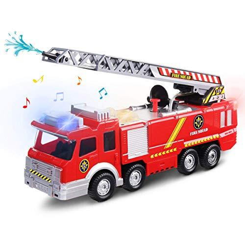 FUNTOK Feuerwehrauto, Spielzeugauto Action Series Fire Truck, Feuerwehrfahrzeug Feuer LKW Auto Spielzeug mit Drehleiter Wasserpumpe Light und Sound für Kinder