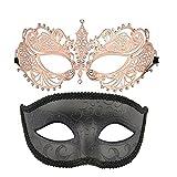 Thmyo Máscara de la Mascarada de un par de Parejas, Máscara de la Corona Disfraces de Venecia Mardi Gras Prom Máscara (Oro Rosa + Negro)