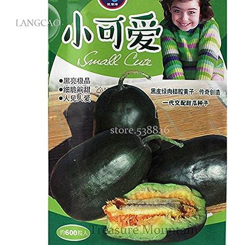Rare Heirloom ellittica nero dolce Melone con carne verde, confezione originale, 600 semi, il 16% di zucchero contenuta melone LC002Y - Verde Melone Seeds