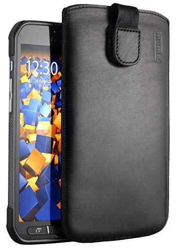 mumbi ECHT Ledertasche für Samsung Galaxy S5 Active Tasche Etui (Lasche mit Rückzugfunktion Ausziehhilfe) (Active Skin Für Galaxy S5)
