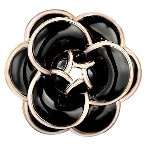 TOOGOO Emaille Kamelie Blumen Kanal Schmuck Broschen Broschen Für Frauen Pullover Kleid Revers Pins Mithelfer Für Kleidung Schwarz