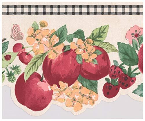 York Wallcoverings Roter Apfel Erdbeere kirsche rosa Blüten rissige weiße schwarze Trim Tapete Grenze Retro-Design, Roll-15' x 7