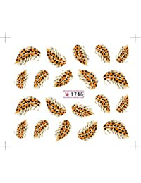 Nail Art Water Transfers Stickers Decals Metallic Gold/Sliver Funky feather/F...