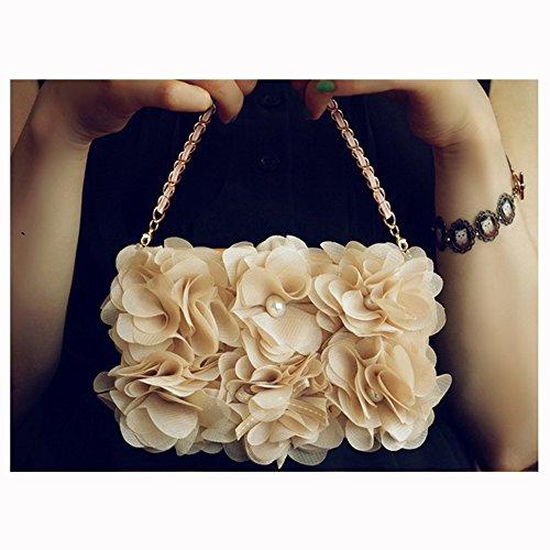 spritech (TM) 3D Elegante Chiffon Blumen Case Luxus PU Leder Wallet Case Flip Cover Mit Strap, Kunstleder, Style-1, iPhone 5c