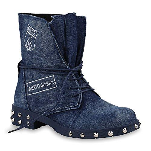 Damen Stiefeletten Stiefel Schnürstiefeletten Denim Nieten Schuhe 154009 Dunkelblau Carlton 39 Flandell