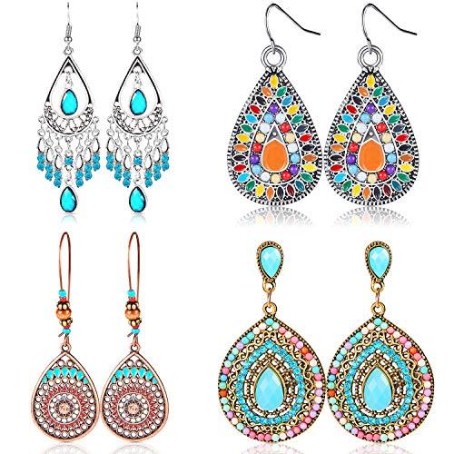 4 Pair Bohemian Vintage Earrings...