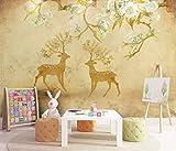 HONGYUANZHANG Goldener Blumenelch Tapete Des Foto-3D Künstlerische Landschafts-Fernsehhintergrund-Tapete,24Inch (H) X 32Inch (W)