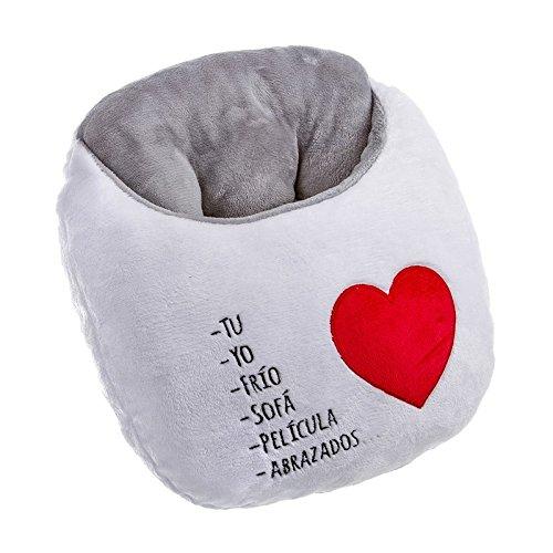 Dcasa - Calientapies corazon bordado extrasuave de poliester con frases romanticos .