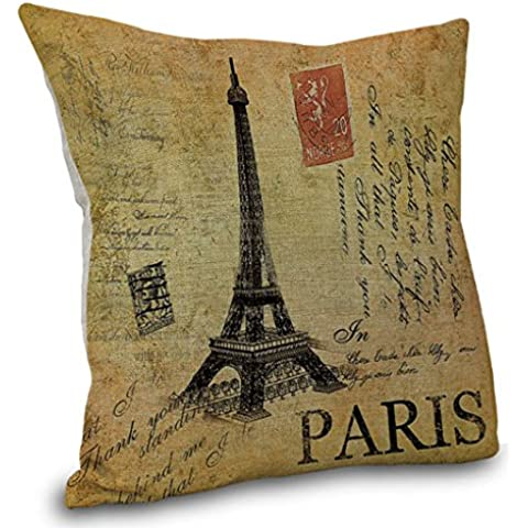 YouLoveHome Torre eiffel cotone federa biancheria casa decorativi divano cuscino copre cover cuscino quadrato