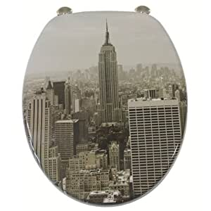 Gilac - Abattant de toilette deco new york en bois mdf laque charniere inox siege wc standard