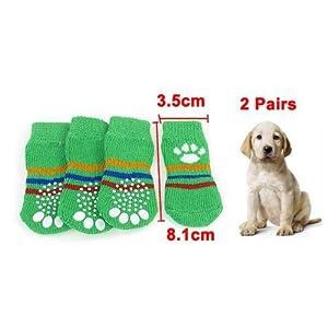 TOOGOO(R) 4 x Chaussettes de chien douces chaudes antiderapantes Vertes Taille M