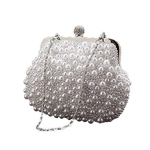 Cravog Elégant Sac de Soirée Etui Pochette Orné Perles Pour Femmes Noir k6oEa7