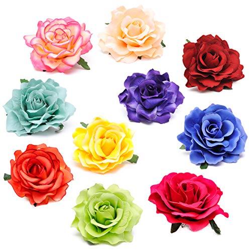 Coucoland Rose Blumen Brosche Haarclips Braut Hochzeit Haarschmuck Flamenco Tanz Haarspange Damen Fasching Kostüm Accessoires (10 Stück - volle - Tanz Kostüm Haarschmuck