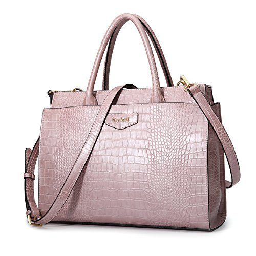 Kadell Damen Leder Designer-Handtaschen mit Krokoprägung Umhängetasche Schulranzen für Damen Rosa