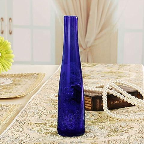 kxzzy Continental style minimaliste moderne et élégant Home Decor Décorations et ornements Flower- élégant Vase en verre, bleu saphir