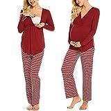 MAXMODA Damen Stillpyjama-Umstandspyjama-Schlafanzug Zweiteilig Hausanzug Pyjamas Kurzen Ärmeln Lang Hosen mit Stillfunktion