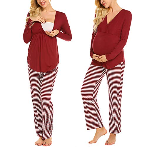 MAXMODA Stillpyjama-Schlafanzug-Umstandspyjama für Damen, Extra Weiche-Softe Materialzusammensetzung, Lang-Langarm, V-Ausschnitt Design