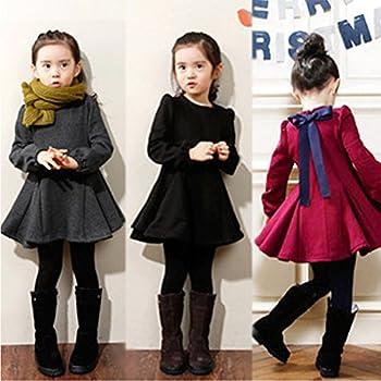 M-g-x Children 'S Clothing Autumn & Winter New Girls Cotton Thick Bow Peng Peng Dress Size 140cm (Gray) 7