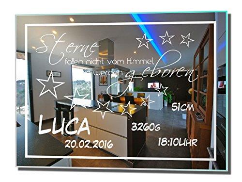 Motivspiegel Geburt 16 30x40cm Spiegel mit Gravur ihrer persönlichen Daten, Geschenk zur Geburt oder Taufe von Junge oder Mädchen