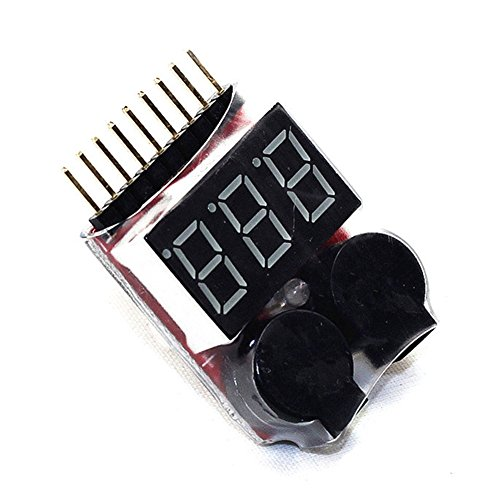 2 1s-8s RC Lipo Akku Tester Low Voltage Alarm Summer Indikator Checker mit LED, Li-Ion/-Lithiumionen-Zellen/li-fe/LiPo Akku Tester Low Voltage Buzzer Alarm, Fernbedienung Hubschrauber Drone Auto Akku Rc-auto-batterie-tester