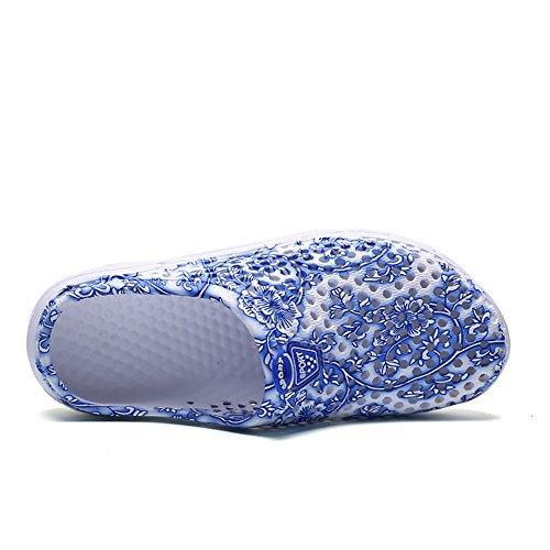 Damen Clog, Nasonberg Damen Leichte Komfortabel Pantoletten Beach Mesh Sommer Slipper Schuh Porzellan blau