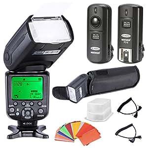 Neewer® Kit de Flash Synchro Haute Vitesse E-TLL Flash Maître/Esclave pour Canon Reflex Numérique EOS 5D Mark III 5D Mark II 1Ds Mark 6D 5D 7D 60D 50D 40D 30D 300D 100D 350D 400D 450D 500D 550D 600D 650D 700D 1000D 1100D et Autres Canon Reflex Numérique, comprend: 1*NW9852C-II Flash +1*Diffuseur+1*3-en-1 2.4Ghz Déclencheur Flash sans fil+1* Kit Filter 35 Couleur de Gel+1*Flash Etui de Luxe+2*Câbles(C1-Cordon + C3-Cordon)
