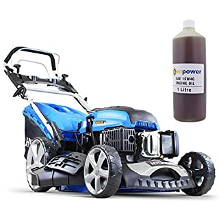 Hyundai 173 cc Self Propelled Electric Push Button Start Petrol Lawn Mower Bundled With 1 LTR OIL, HYM510SPE Blue