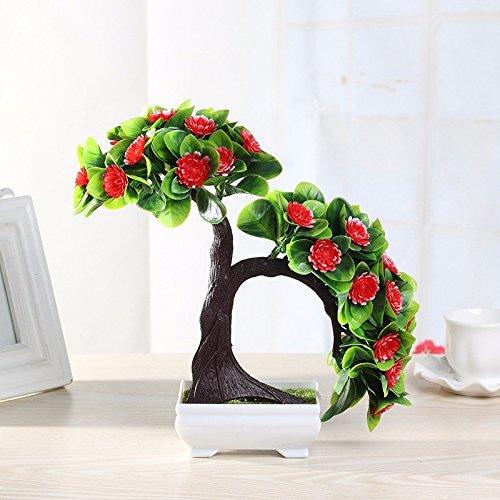 GBHNJ Artificial Flower GBHNJ Faux Fleurs Cadeau Table Basse Gala Simulation Plantes En Pot Decoration Plastique Plantes Acacia Red