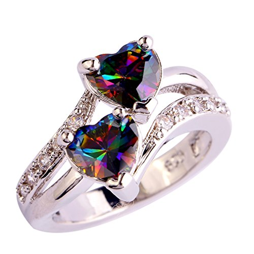 YAZILIND Engagement Heart Ring Colorful Crystal Bridal Anniversary Women Jewelry Size6