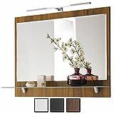 Spiegel Walnuss mit Beleuchtung LED, Breite 90 cm, mit Ablage, 90x68x22 cm