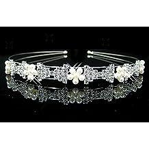 Diadema lazos brillantes perlas accesorios pelo horquillas acconciatura  novia 27267379a51a