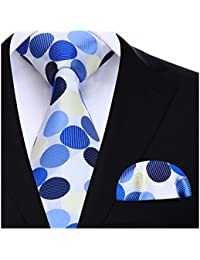 HISDERN Hombre Check Dot Striped Tie Panuelo Wedding Party Prom Necktie & Pocket Square Set…