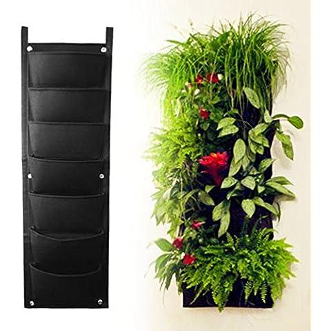 7 bolsillo AMARS Vertical fieltro bolsas de crecimiento de plantas de jardín recipiente, Living tapiz de pared hecho a macetero, Eco-friendly verde campo olla para guardar hierbas diseño de flores de