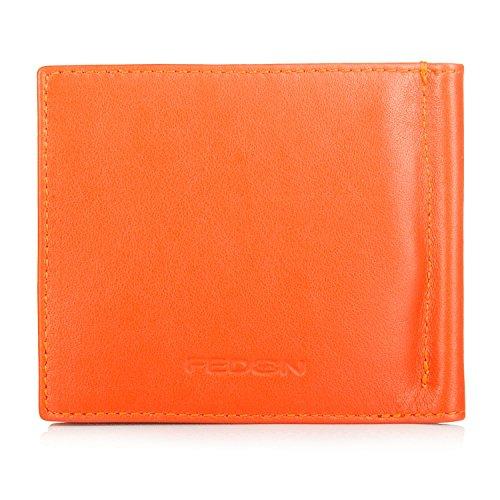 Fedon 1919 piccola Pelletteria Carte e bollette con fermasoldi arancione