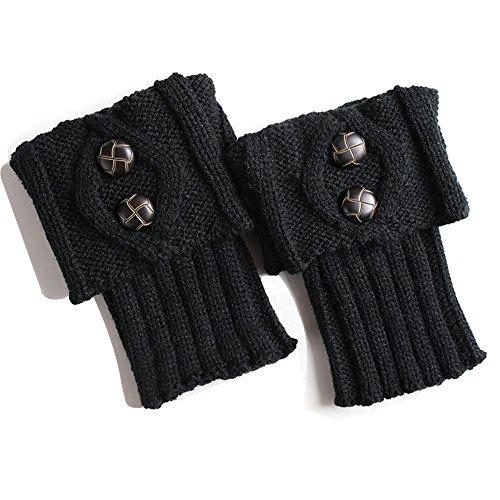 Strickleggings Wolle Warm Knopffußabdeckung Pilzschnalle Socken -