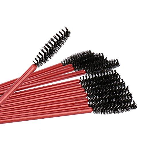 12 St. Wimpernverlängerung Wimpernbürsten Wimpernbürstchen – Rot, 6mm - 3