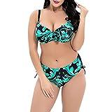 iBaste Plus Size Bikini Damen Badeanzug Bikini Swimsuit Bademode Für Mollige Frauen große größen Bikini-Set Zweiteilig-GR-3XL