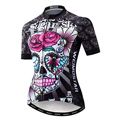 Xinermei Radtrikot Damen Kurzarm Radsport Bekleidung Frauen Sommer Fahrradbekleidung Top Schädel MTB Jesery -