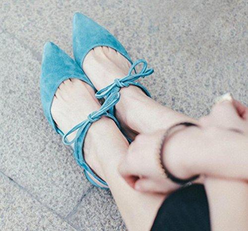 OL pompe di matrimonio merletti in su punta a punta rotonda rotonda con tacco basso donna scarpe casuali scarpe formato UE 34-39 Blue